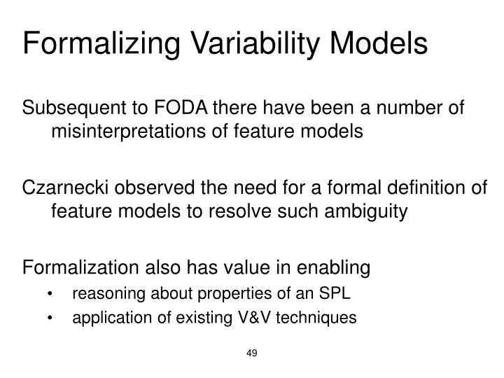Formalizing Variability Models