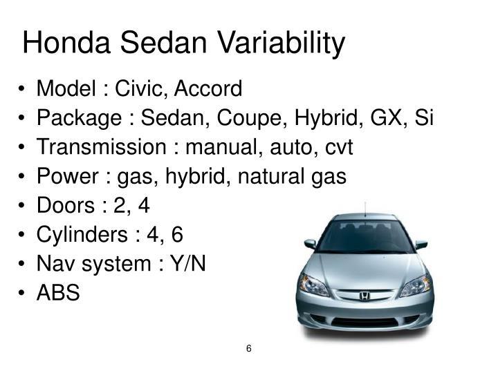 Honda Sedan Variability