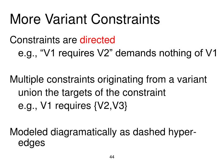 More Variant Constraints