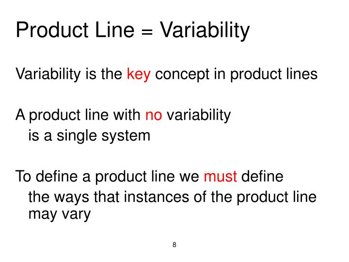 Product Line = Variability