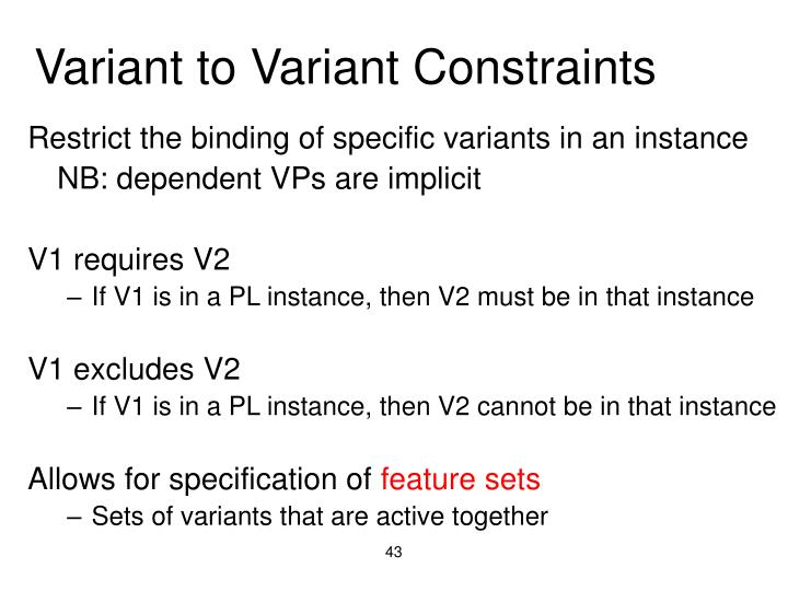 Variant to Variant Constraints
