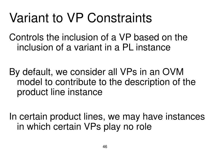 Variant to VP Constraints