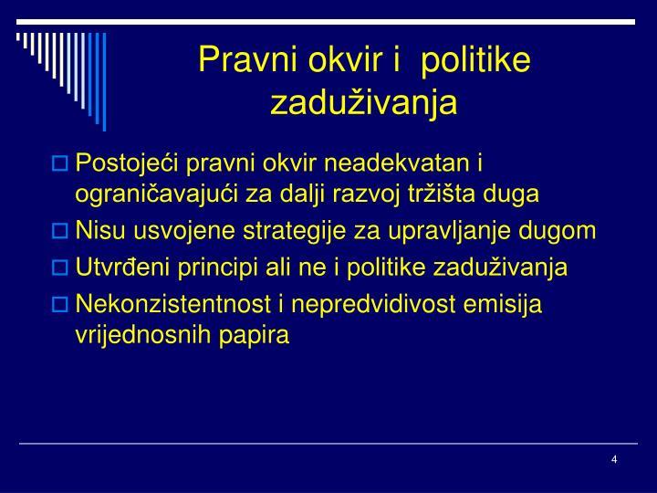 Pravni okvir i  politike zaduživanja