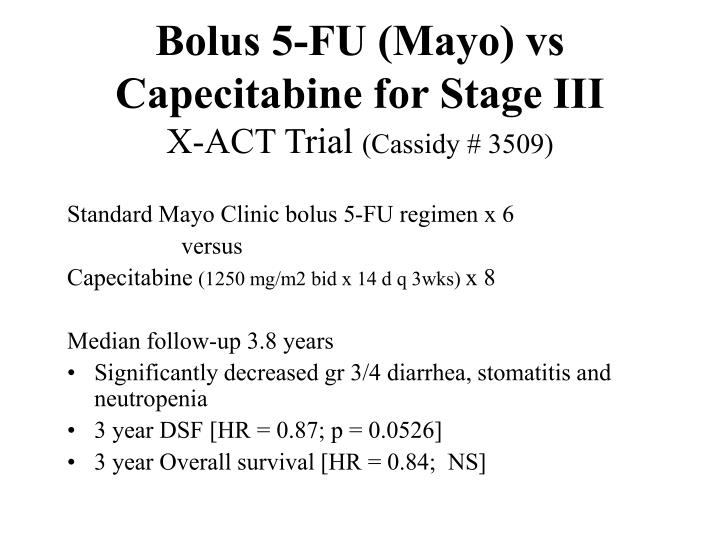 Bolus 5-FU (Mayo) vs Capecitabine for Stage III