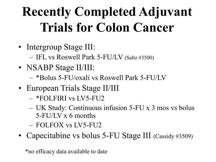 Recently Completed Adjuvant Trials for Colon Cancer