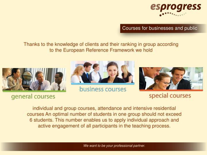 Courses for businesses