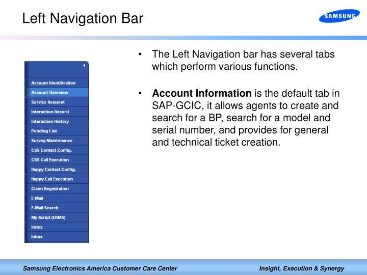 Left Navigation Bar