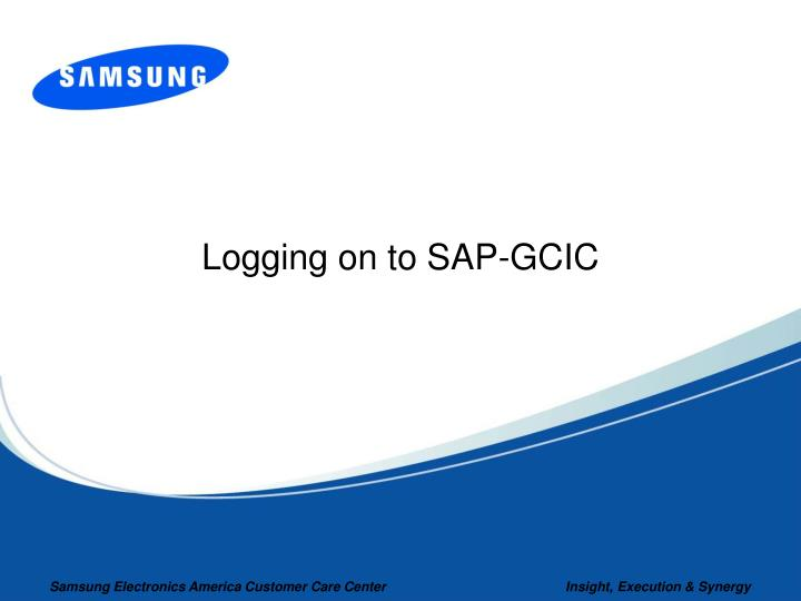 Logging on to SAP-GCIC