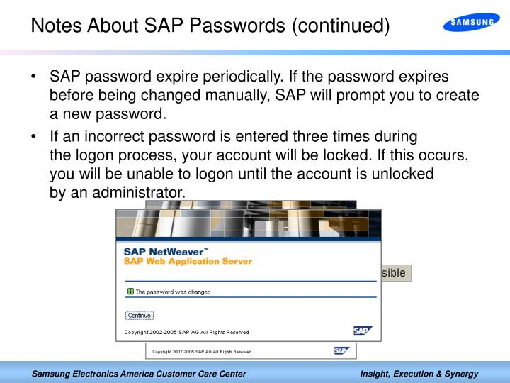 Notes About SAP Passwords (continued)
