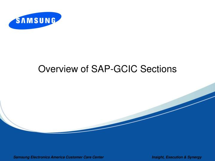 Overview of SAP-GCIC Sections