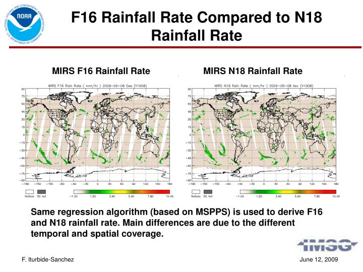 F16 Rainfall Rate Compared to N18 Rainfall Rate