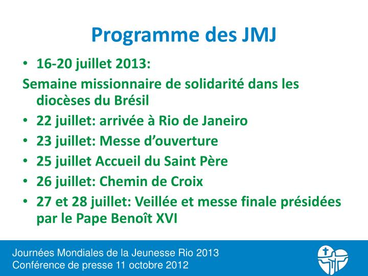 Programme des JMJ