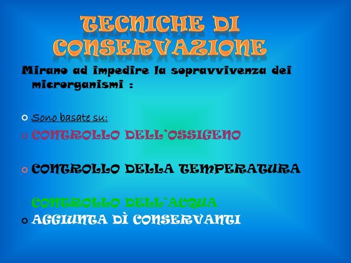 Tecniche di conservazione