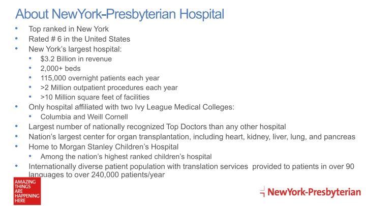About NewYork-Presbyterian Hospital