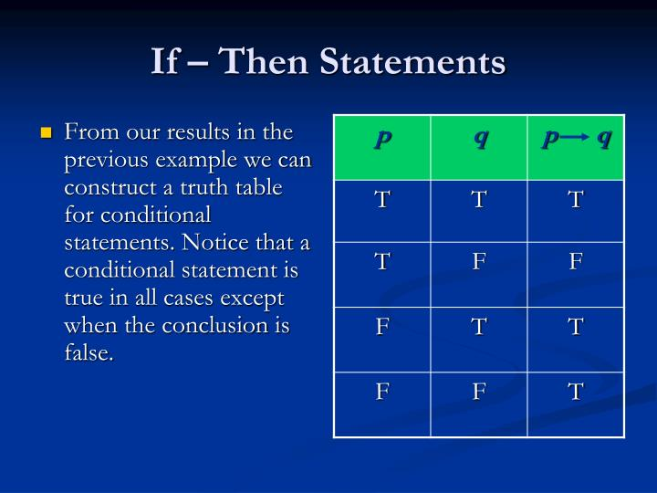 If – Then Statements