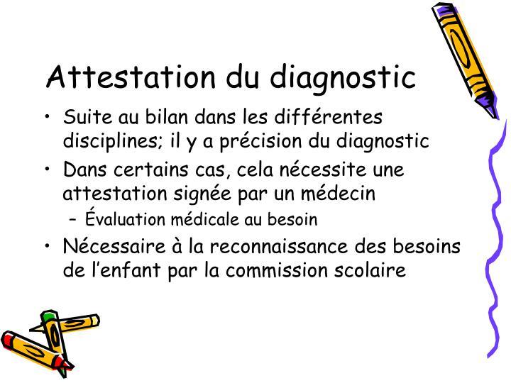 Attestation du diagnostic