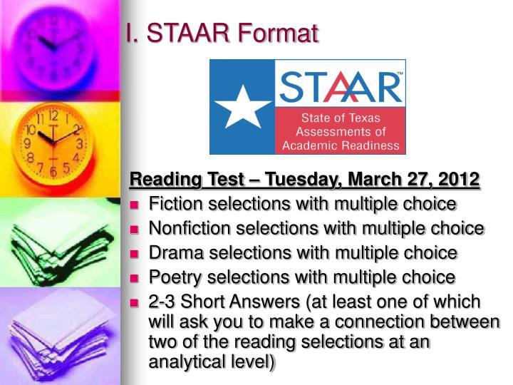 I. STAAR Format
