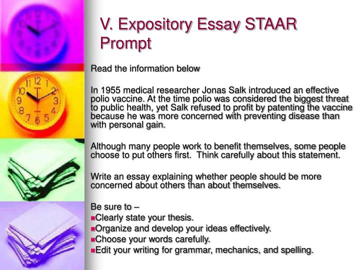V. Expository Essay STAAR Prompt