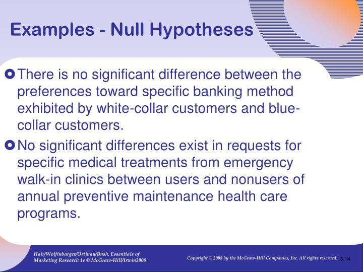 Examples - Null Hypotheses