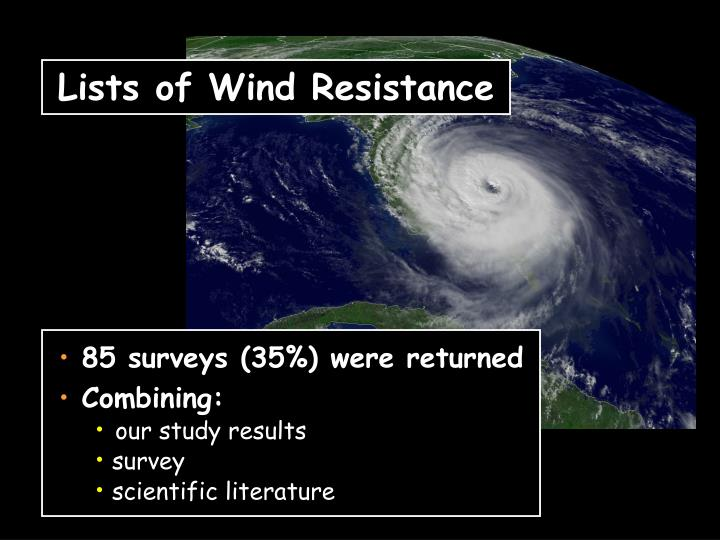 Lists of Wind Resistance