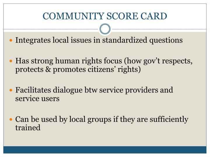 COMMUNITY SCORE CARD