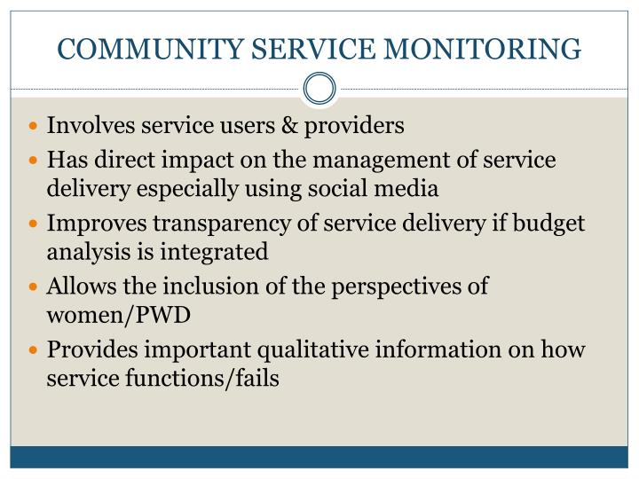 COMMUNITY SERVICE MONITORING