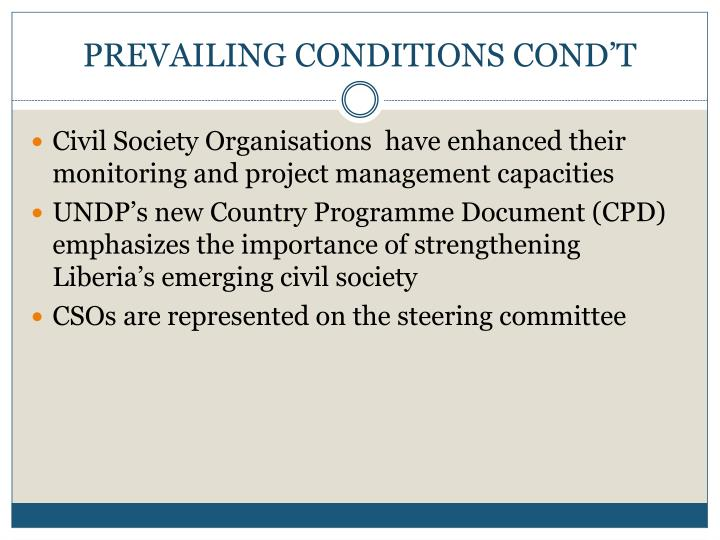PREVAILING CONDITIONS COND'T
