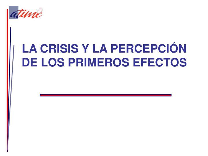LA CRISIS Y LA PERCEPCIÓN DE LOS PRIMEROS EFECTOS