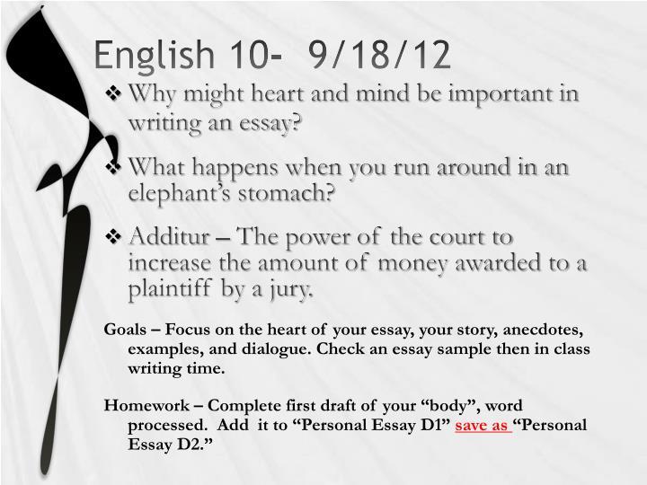 English 10-  9/18/12