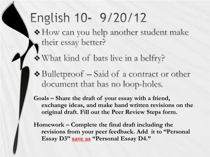 English 10-  9/20/12