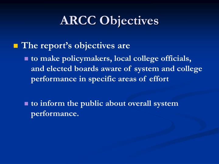 ARCC Objectives