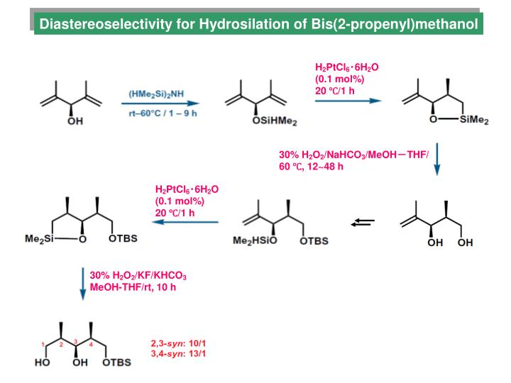 Diastereoselectivity for Hydrosilation of Bis(2-propenyl)methanol