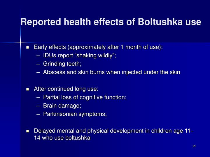 Reported health effects of Boltushka use