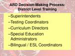 ard decision making process district level training