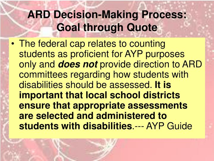 ARD Decision-Making Process: