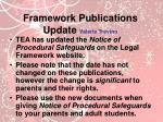 framework publications update valerie trevino