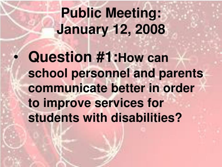 Public Meeting: