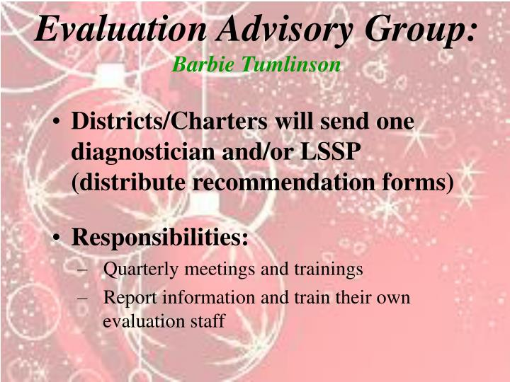 Evaluation Advisory Group: