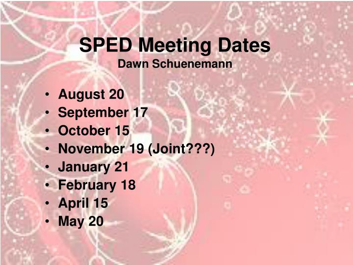 SPED Meeting Dates