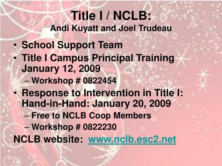 Title I / NCLB: