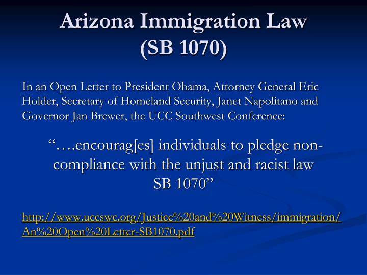 arizona laws immigration Ncsl's immigrant policy project provides an analysis of arizona's immigration  enforcement law.