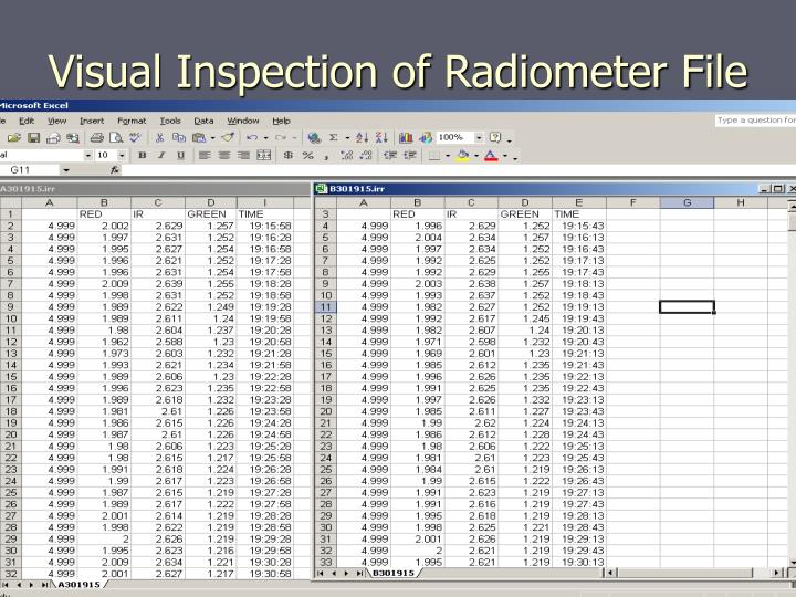 Visual Inspection of Radiometer File