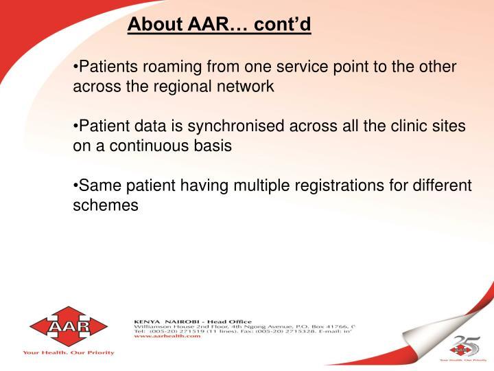 About AAR… cont'd