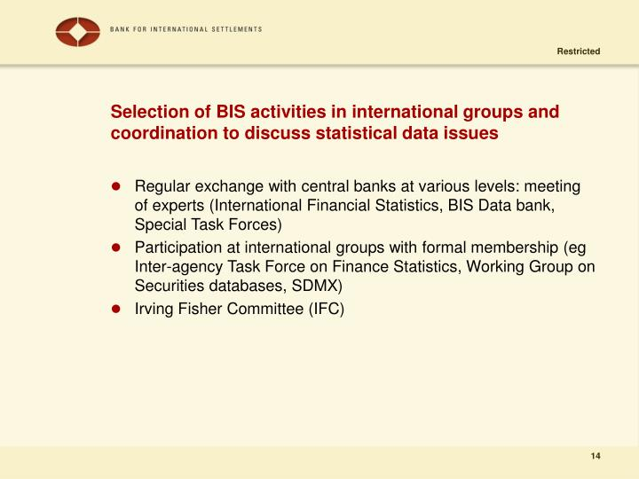 Selection of BIS activities in international groups and coordination to discuss statistical data issues