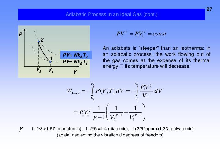 Adiabatic Process in an Ideal Gas (cont.)