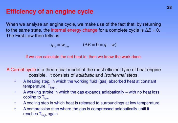 Efficiency of an engine cycle