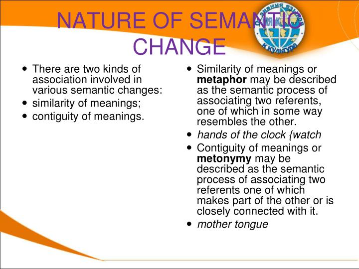 NATURE OF SEMANTIC CHANGE
