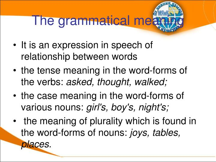 The grammatical meaning