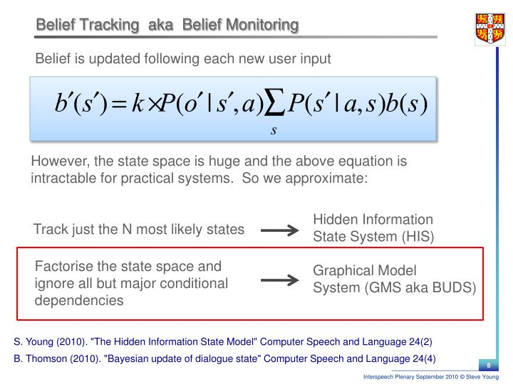 Belief Tracking  aka  Belief Monitoring