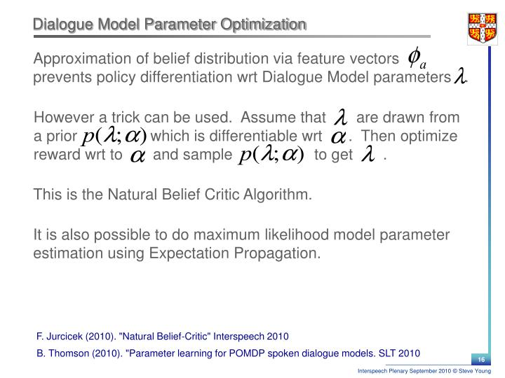 Dialogue Model Parameter Optimization